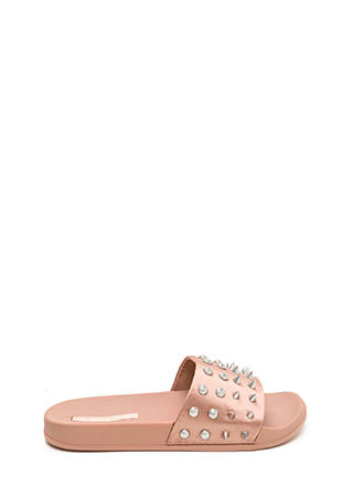 Quick Stud-y Satin Slide Sandals