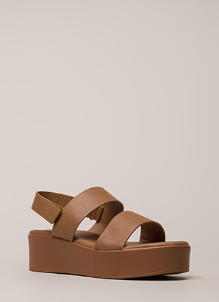 Double Up Faux Leather Platform Sandals