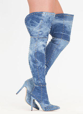 Style Stud-y Denim Thigh-High Boots