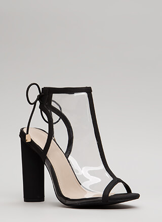 Clear Your Mind Tied Faux Leather Heels