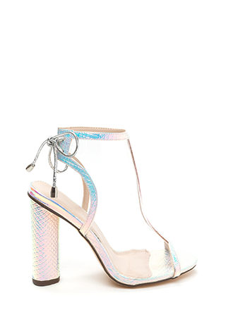 Clear Your Mind Tied Snakeskin Heels