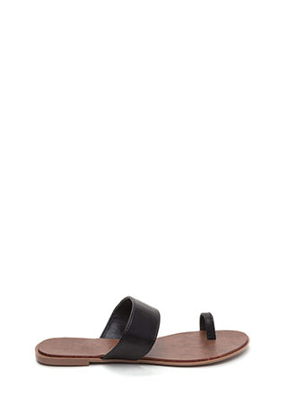On Your Toes Faux Leather Slide Sandals