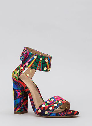 Front Row Stud Chunky Printed Heels