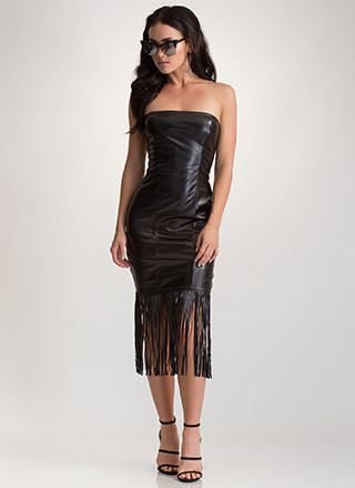 Flirty Fringe Faux Leather Midi Dress