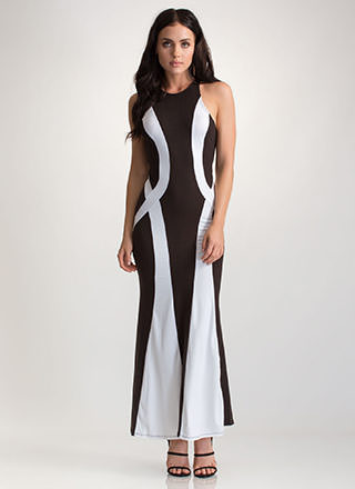 Fine Figure Contrast Maxi Dress