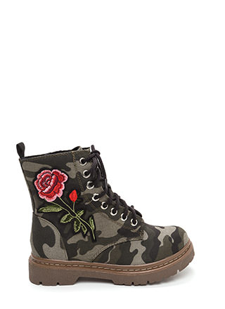 Rosy Creation Lace-Up Camo Boots