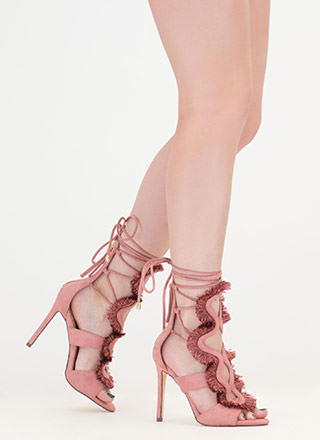 Effortless Look Fringed Lace-Up Heels
