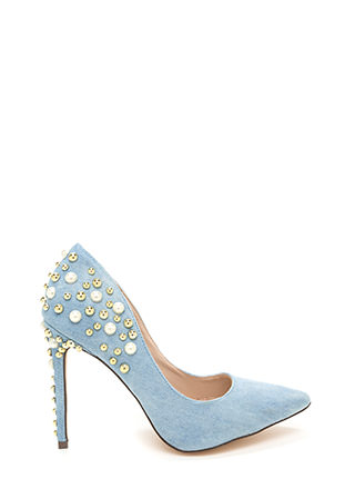 Sparkle Power Pointy Denim Heels