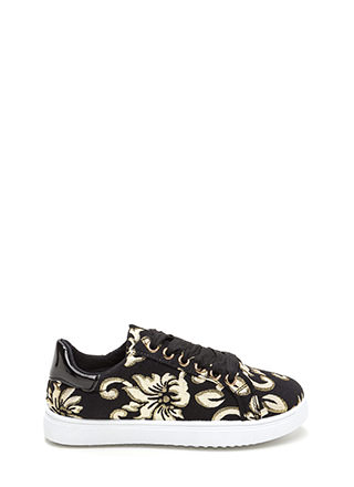 Flower Fix Shiny Embroidered Sneakers