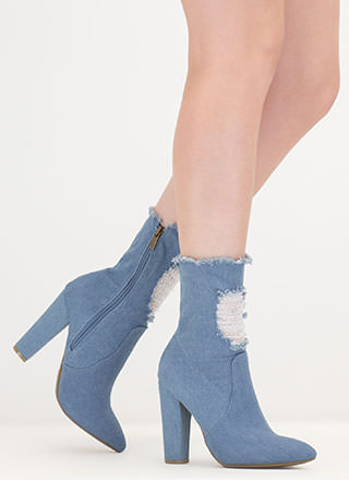 Distress Signal Pointy Denim Booties