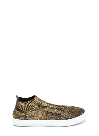 Sock Away Metallic Knit Sneakers