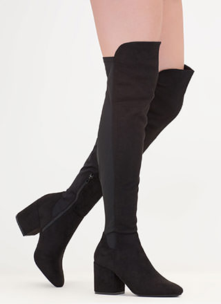 Mixed Mode Chunky Thigh-High Boots