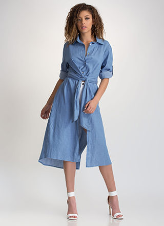 Chambray Special Tied Shirtdress