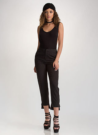 Lined Formation Pinstriped Pants