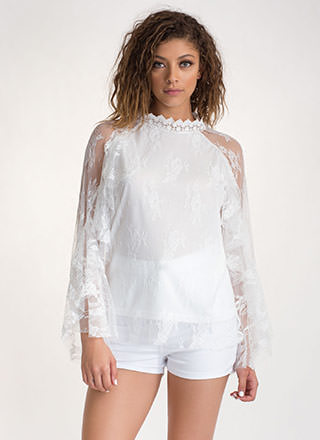 Delicate Touch Ruffled Sheer Lace Top