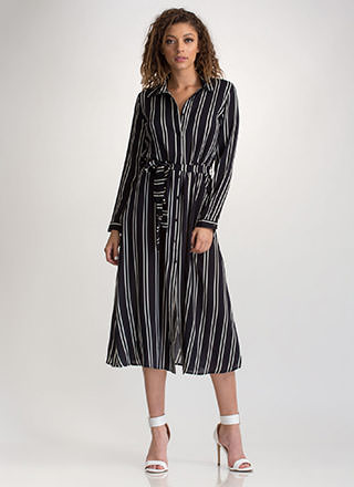 In Between Lines Belted Shirtdress