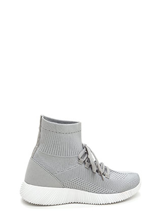 Street Style Knit High-Top Sneakers