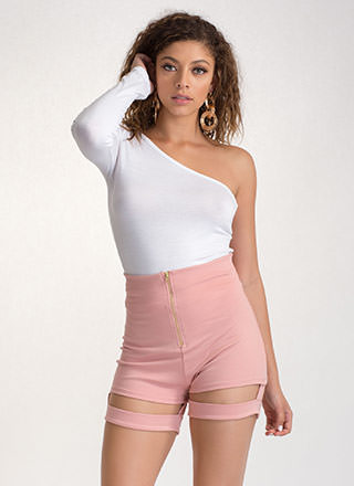Music Video High-Waisted Garter Shorts