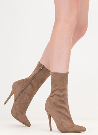 Point It Out Faux Suede Booties