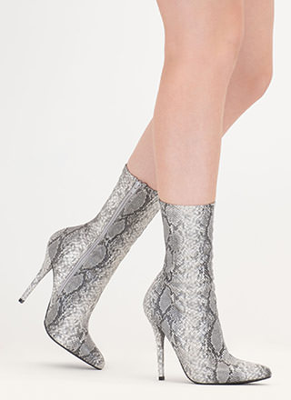 Stylish Point Faux Snakeskin Booties
