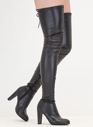 Walk Tall Faux Leather Thigh-High Boots