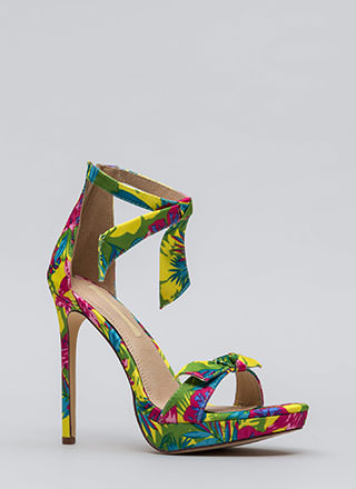 Tie And Tie Again Tropical Floral Heels