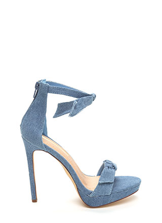 Tie And Tie Again Washed Denim Heels