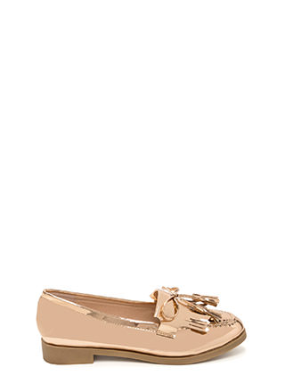 Bow-Getter Metallic Faux Patent Loafers