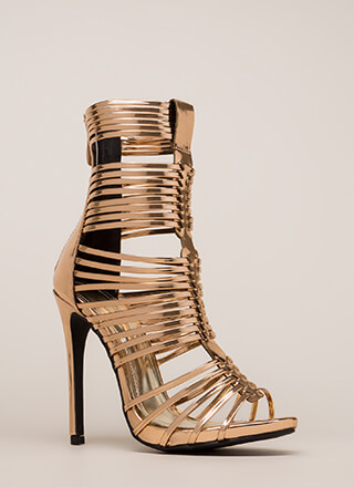 Stack Up To Be Metallic Gladiator Heels
