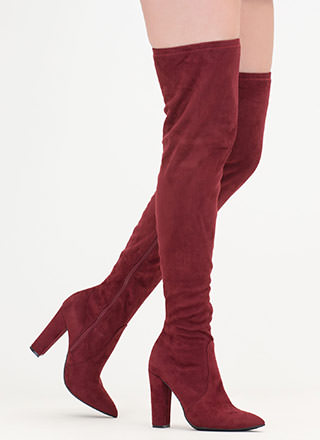 Go Chunky Faux Suede Thigh-High Boots
