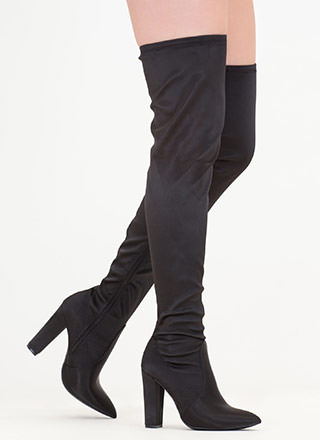 Go Chunky Satin Thigh-High Boots