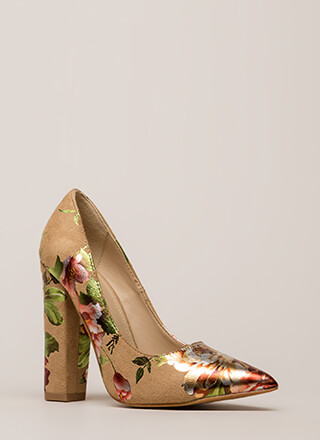 Gleaming Floral D�cor Pointy Heels