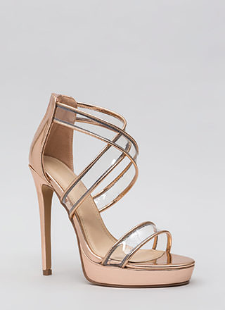 Clear Mind Strappy Metallic Heels