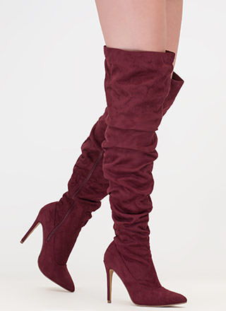 No Slouch Faux Suede Thigh-High Boots