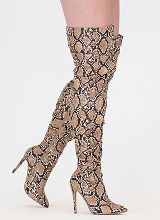 No Slouch Snake Print Thigh-High Boots