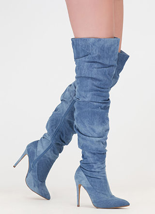 No Slouch Washed Denim Thigh-High Boots