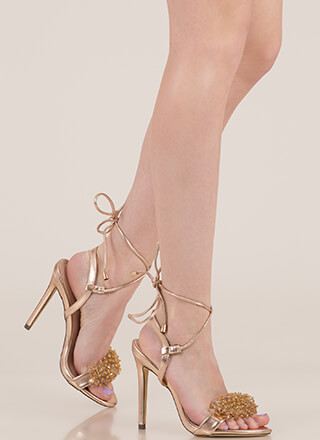 Bead Me To It Metallic Lace-Up Heels