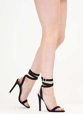 Wraparound The Bend Faux Suede Heels