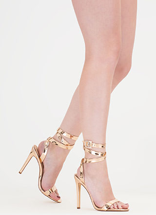 Wraparound The Bend Metallic Heels