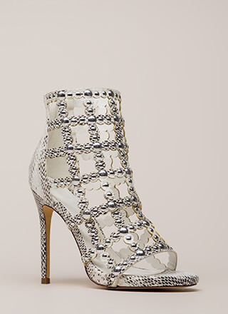 Snakeskin Away Strappy Studded Heels