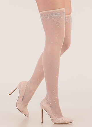 Stocking Filler Jeweled Thigh-High Heels