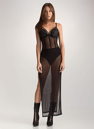 Famous Curves Sheer Slit Maxi Dress