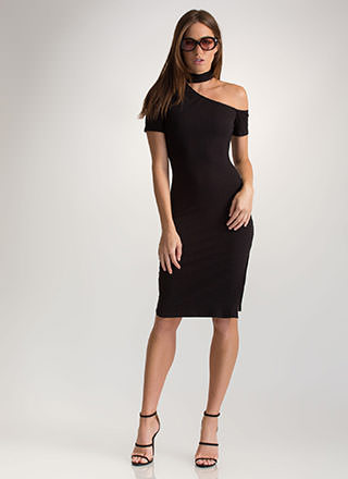 Make The Cut-Out Ribbed Choker Dress
