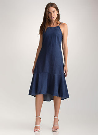 Fundamental Denim Tied Ruffled Dress