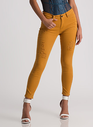 Simply Distressed Cropped Skinny Jeans