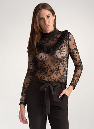 Sweet Side Ruffled Lace Mockneck Top