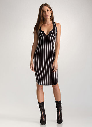 Stripe A Beat Plunging Racerback Dress