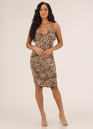 Skip A Beat Plunging Racerback Dress