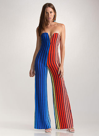Lucky Stripe Colorblock Palazzo Jumpsuit
