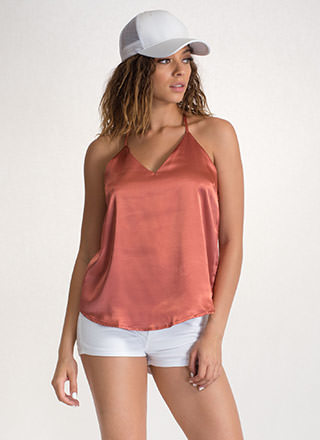 Luxe Touch Strappy Satin Tank Top